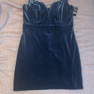 NWT Express Blue Velvet Mini Dress Sz 12